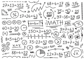 hand drawn math symbols. mathematical numbers, symbols and signs. hand drawn, number, symbol, sign and shapes. math concept