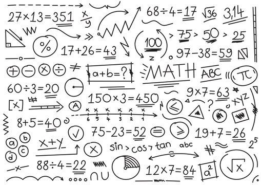 hand drawn math symbols. mathematical numbers, symbols and signs. hand drawn, number, symbol, sign and shapes. math concept