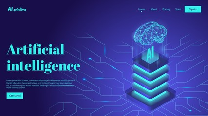 Artificial intelligence landing page header concept. Technology and engineering isometric illustration Wall mural