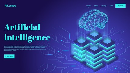 Artificial intelligence landing page header concept with digital brain and neural network.