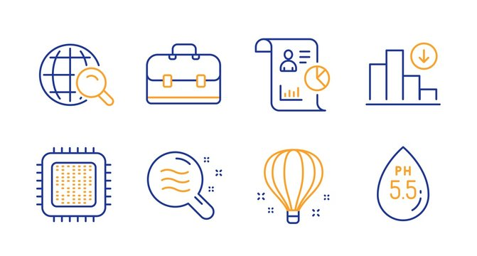 Air balloon, Skin condition and Report line icons set. Internet search, Cpu processor and Portfolio signs. Decreasing graph, Ph neutral symbols. Sky travelling, Search magnifier. Science set. Vector