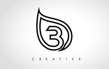 B Leaf Logo Letter Design with Leaf Outline