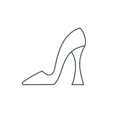 Female shoe with high heel. Elegant black slipper with spike heel on while background. Vector illustration. Good for wrapping, print, wallpaper.