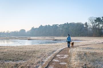 Walking the dog in wintertime Fotomurales