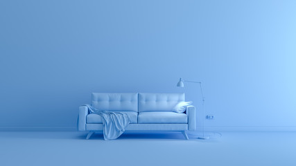 3D rendering of blue monochrome space with sofa
