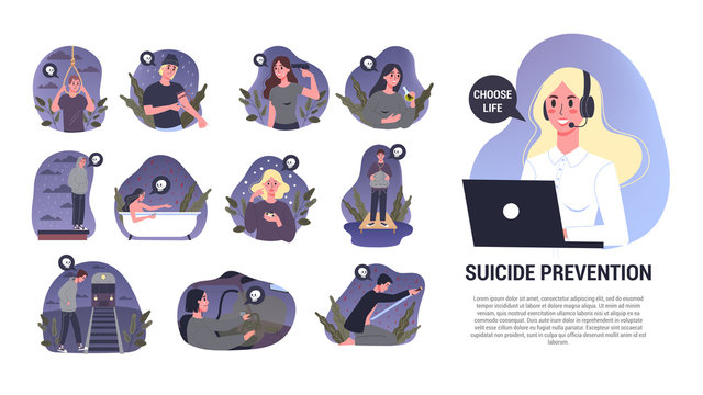 Vector illustratiion of diffrent suicide methods set. Sad people
