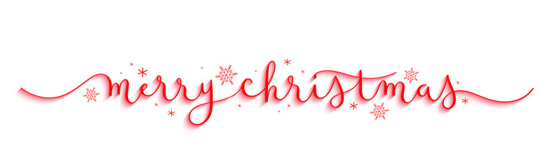 Wall Mural - MERRY CHRISTMAS red vector brush calligraphy banner with snowflakes