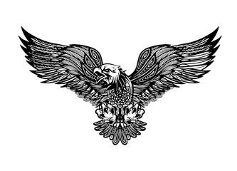Eagle emblem isolated on white vector illustration. American symbol of freedom