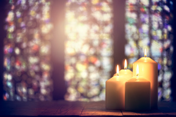 Printed roller blinds Fire / Flame Candles in a church background