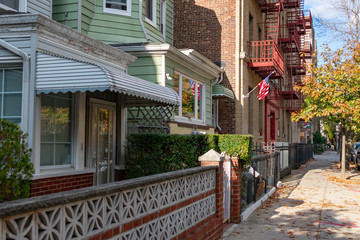 A Row of Old Homes in Astoria Queens New York