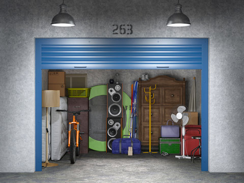 storage with open doors 3d illustration