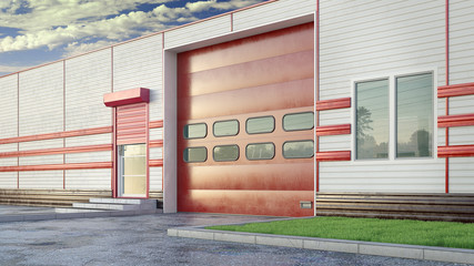 Hangar exterior with sectional gate. 3d illustration Fotomurales
