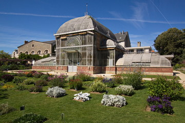 Green house in botanic garden of Nantes in France,Europe