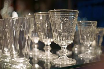 festive empty drinking glasses