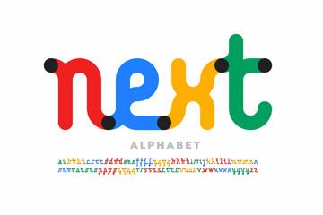 One line style font design, single continuous line alphabet