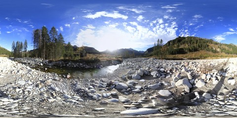 Foto auf Leinwand Weiß Stream in Tatra Mountains 360 Panorama