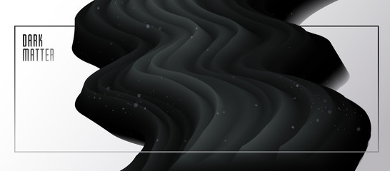 Fototapeta Dimensional gradient shape element for design, abstract dark matter fluid vector background, black flowing 3D wave, color dynamic motion layout. obraz