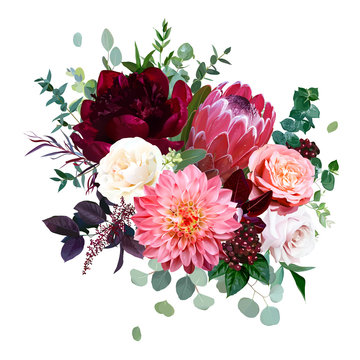 Luxury fall flowers vector bouquet