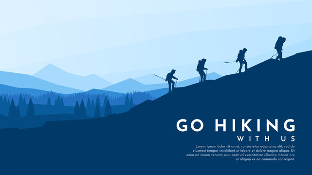 Vector blue background. Travel concept of discovering, exploring and observing nature. Hiking. Adventure tourism. Flat design template of gift card, web banner, invitation, poster, website. Landscape