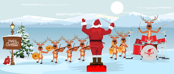 Foto auf Acrylglas Licht blau Santa Claus and reindeers with musical instruments New year christmas Orchestra concert on winter landscape scenery. Vector illustration.