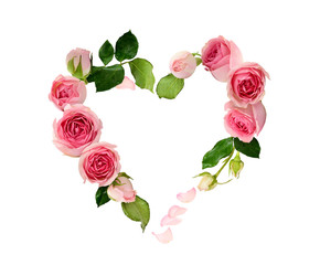 Foto op Canvas Bloemen Pink rose flowers, buds and petals in a heart shape arrangement