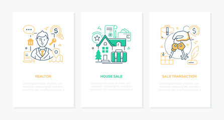Real estate services - line design style banners set
