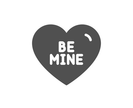 Sweet heart sign. Be mine icon. Valentine day love symbol. Classic flat style. Simple be mine icon. Vector