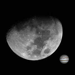 Illustration, with Moon in waxing gibbous phase and little Jupiter with shadow of its satellite Io. Isolated in a black background from deep space.