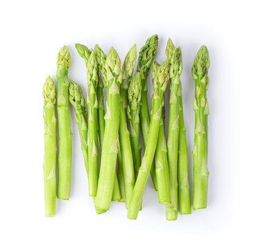 Asparagus isolated on white background top view