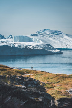 3 people taken photo of Humpback whale in Ilulissat diving in Greenland. Easy hiking route to the famous Kangia glacier near Ilulissat in Greenland. The Ilulissat Icefjord seen from the viewpoint.