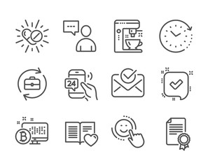 Set of Business icons, such as Users chat, 24h service, Coffee maker, Confirmed, Certificate, Human resources, Love book, Smile, Approved mail, Time change, Bitcoin system, Medical drugs. Vector