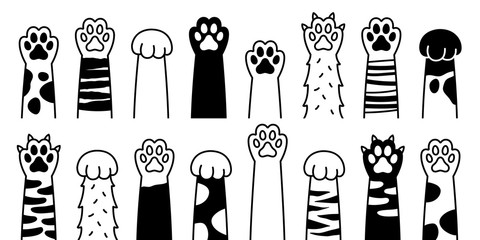 Cat paw vector dog paw cat breed vector doodle illustration character