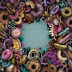 Donuts hand drawn doodles illustration. Sweets frame card design.