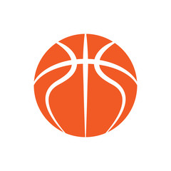 Orange abstract basketball symbol with text isolated on white background