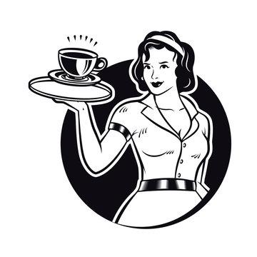 Retro Waitress Serving Coffee Clipart Illustration. Diner Waitress