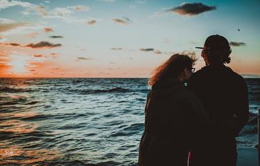 Foto auf Acrylglas Schwarz Sunrise on the Black Sea. Odessa, Ukraine