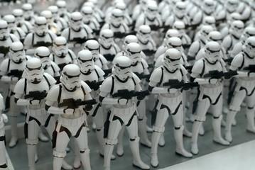Tokyo, Japan - August 7, 2015: Star Wars Stormtrooper action figures lined up for display at Kotobukiya Store in Akihabara.