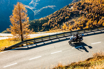 Wall Mural - motorbike at the grossglockner mountain