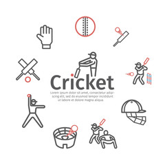 Cricket banner line icons. Cricket player. Vector signs for web graphics
