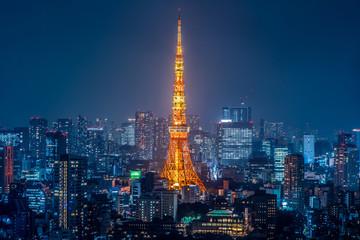 Poster Tokyo Night view of Tokyo Japan 東京都市風景 夜景