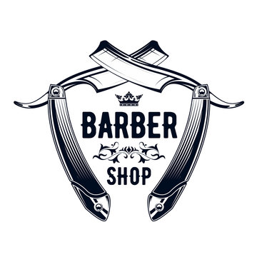Vintage barbershop emblem - old straight razor, barber shop logo