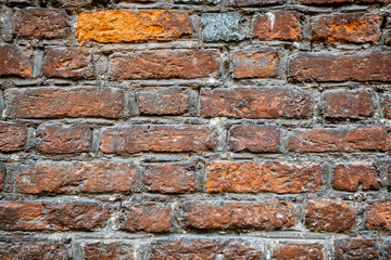 Closeup of an old dirty brown brick wall