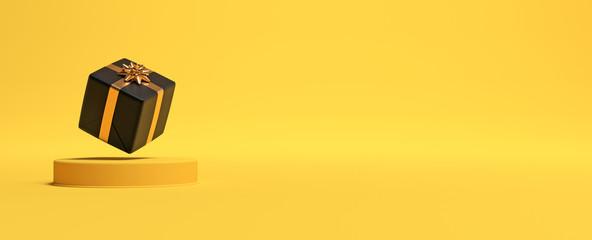 Cadeau de Noël et podium sur fond jaune. 3D
