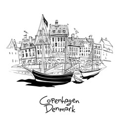Spoed Fotobehang Schip Vector black and white sketch of Nyhavn with facades of old houses and old ships in the Old Town of Copenhagen, capital of Denmark.