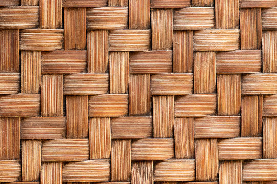 Closed up of wood weave craft textured background