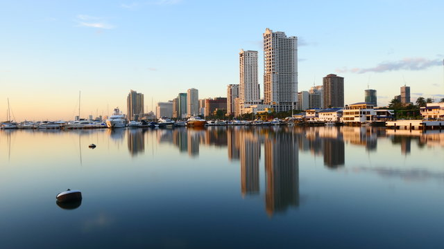 The beautiful skyline of Manila bay at sunset, The Philippines