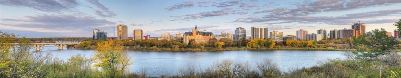 Panorama view of Saskatoon, Canada cityscape over river