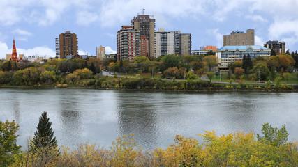 Saskatoon, Canada city center by river