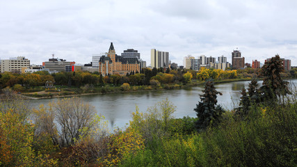 View of Saskatoon, Canada skyline by river