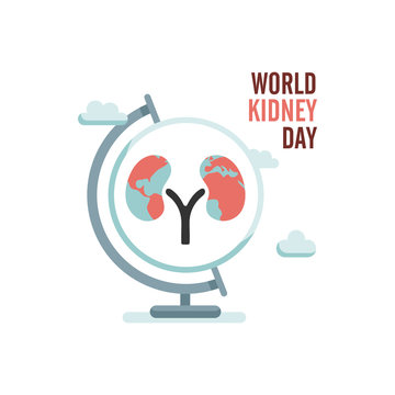 World kidney day with earth globe and clouds. Vector illustration